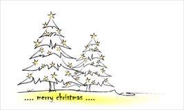 Árvore de Natal com estrelas ilustração stock