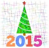 Árvore de Natal com estrelas abstratas, ilustração para o cartão Imagem de Stock