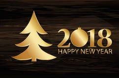 Árvore de Natal com figuras douradas 2018 Ano novo, Natal, wi ilustração royalty free