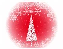 Árvore de Natal com flocos de neve Fotos de Stock Royalty Free