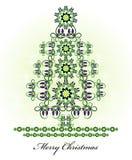 Árvore de Natal com flor e onda Fotografia de Stock