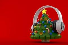 Árvore de Natal com fones de ouvido Ilustração Royalty Free