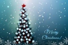 Árvore de Natal com luzes do bokeh ilustração do vetor