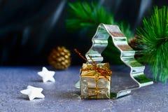 Árvore de Natal com o presente, as estrelas e o cone do pinho Foto de Stock Royalty Free