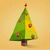 Árvore de Natal com o sim novo dos flocos de neve Foto de Stock