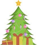 Árvore de Natal com presentes ilustração royalty free
