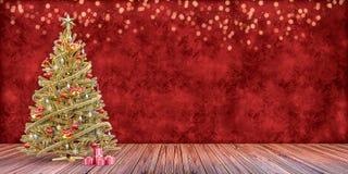 Árvore de Natal com presentes, molde do vale-oferta fotografia de stock