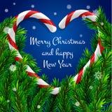 Árvore de Natal com quadro na forma do coração Foto de Stock Royalty Free