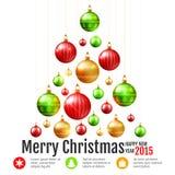 Árvore de Natal com quinquilharias coloridas ilustração royalty free
