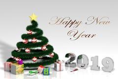 árvore de Natal 3D com bolas e presentes e números vermelhos 2019 fotografia de stock