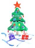 Árvore de Natal da aquarela Fotografia de Stock Royalty Free