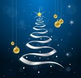 Árvore de Natal da fita com as esferas do Natal do ouro Fotografia de Stock