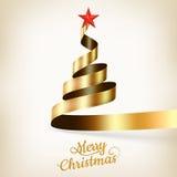 Árvore de Natal da fita e da estrela do ouro Eps 10 ilustração do vetor