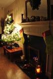 Árvore de Natal da lareira Foto de Stock