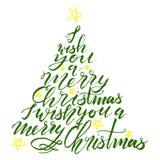 Árvore de Natal da rotulação da caligrafia com estrelas Foto de Stock Royalty Free
