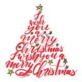 Árvore de Natal da rotulação da caligrafia com estrelas Fotos de Stock Royalty Free