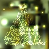 Árvore de Natal da rotulação da caligrafia com estrelas Fotos de Stock