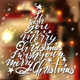 Árvore de Natal da rotulação da caligrafia com estrelas Imagens de Stock