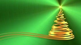 Árvore de Natal das fitas do ouro sobre o fundo verde do metal filme