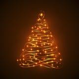 Árvore de Natal de brilho abstrata da luz elétrica Ilustração do Vetor
