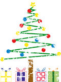 Árvore de Natal de Grunge ilustração do vetor