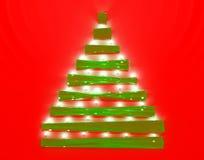 Árvore de Natal de vidro e iluminada Fotografia de Stock