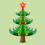A árvore de Natal decorada. ilustração royalty free