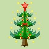 A árvore de Natal decorada. Fotos de Stock Royalty Free