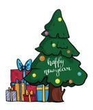 Árvore de Natal decorada com brinquedos coloridos Sob a árvore são os presentes do Natal ilustração stock