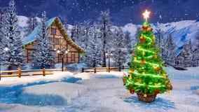 Árvore de Natal decorada na noite do inverno da queda de neve ilustração royalty free
