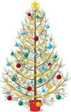 Árvore de Natal decorada no fundo branco foto de stock