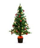 Árvore de Natal decorada pequena isolada foto de stock royalty free