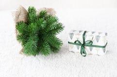 Árvore de Natal decorativa no fundo branco fotos de stock royalty free