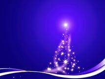 A árvore de Natal decorou o azul Fotos de Stock
