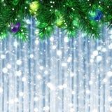 A árvore de Natal decorou o cartão ilustração do vetor