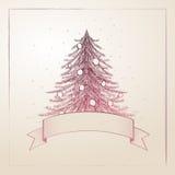 Árvore de Natal desenhada mão Imagens de Stock Royalty Free