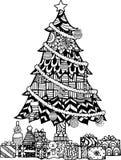 Árvore de Natal desenhada mão ilustração do vetor