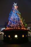 Árvore de Natal do azul e do ouro foto de stock