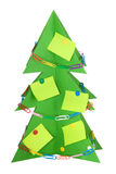 Árvore de Natal do cartão decorada com artigos de papelaria Imagem de Stock Royalty Free