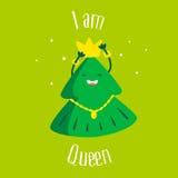 Árvore de Natal do divertimento com coroa e estrela no fundo verde Eu sou rainha ano novo feliz 2007 Ilustração do vetor Imagem de Stock