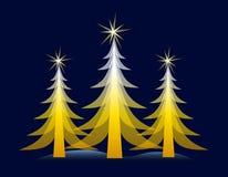 Árvore de Natal do ouro no cartão azul ilustração do vetor