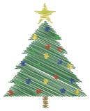 Árvore de Natal do Scribble Fotos de Stock Royalty Free