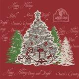 Árvore de Natal do sentido do Natal com os presentes múltiplos do Natal Fotografia de Stock
