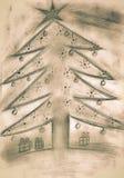 Árvore de Natal do sepia do esboço da mão com presentes ilustração royalty free