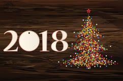 Árvore de Natal dos confetes com figuras 2018 do papel Ano novo, ilustração stock