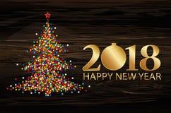 Árvore de Natal dos confetes com figuras douradas 2018 Ano novo, ilustração stock