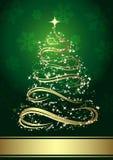 Árvore de Natal dourada abstrata Imagens de Stock