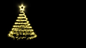 Árvore de Natal dourada em um fundo preto Fotografia de Stock Royalty Free