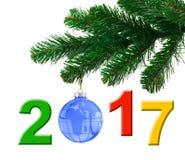 Árvore de Natal e 2017 Fotografia de Stock Royalty Free