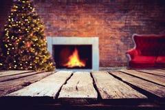 Árvore de Natal e bokeh claro borrado fotos de stock